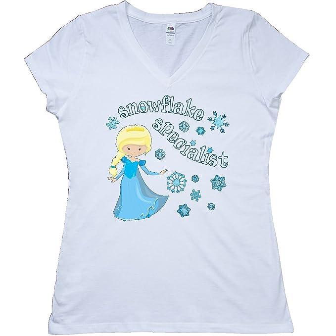 e544c18ae Amazon.com: inktastic - Snowflake Specialist Princess Junior V-Neck T-Shirt  28ec6: Clothing