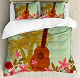Vintage Hawaii King Size Duvet Cover Set by Lunarable, Soft Colored Poster Design Musical Instrument Hibiscus and Tropical Flowers, Decorative 3 Piece Bedding Set with 2 Pillow Shams, Multicolor