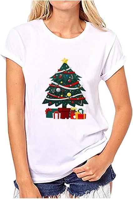 URMOSTIN Mujer Camisetas de Manga Corta de Navidad Cute Papa Noel Reno Árbol de Navidad Impreso Cuello Redondo Camisas Casual Blusa Tops: Amazon.es: Ropa y accesorios