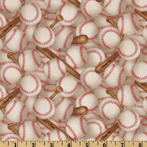 Elizabeth's Studio Sports Collection Baseballs Allover White Fabric by The Yard, (Novelty Quilt Fabric)