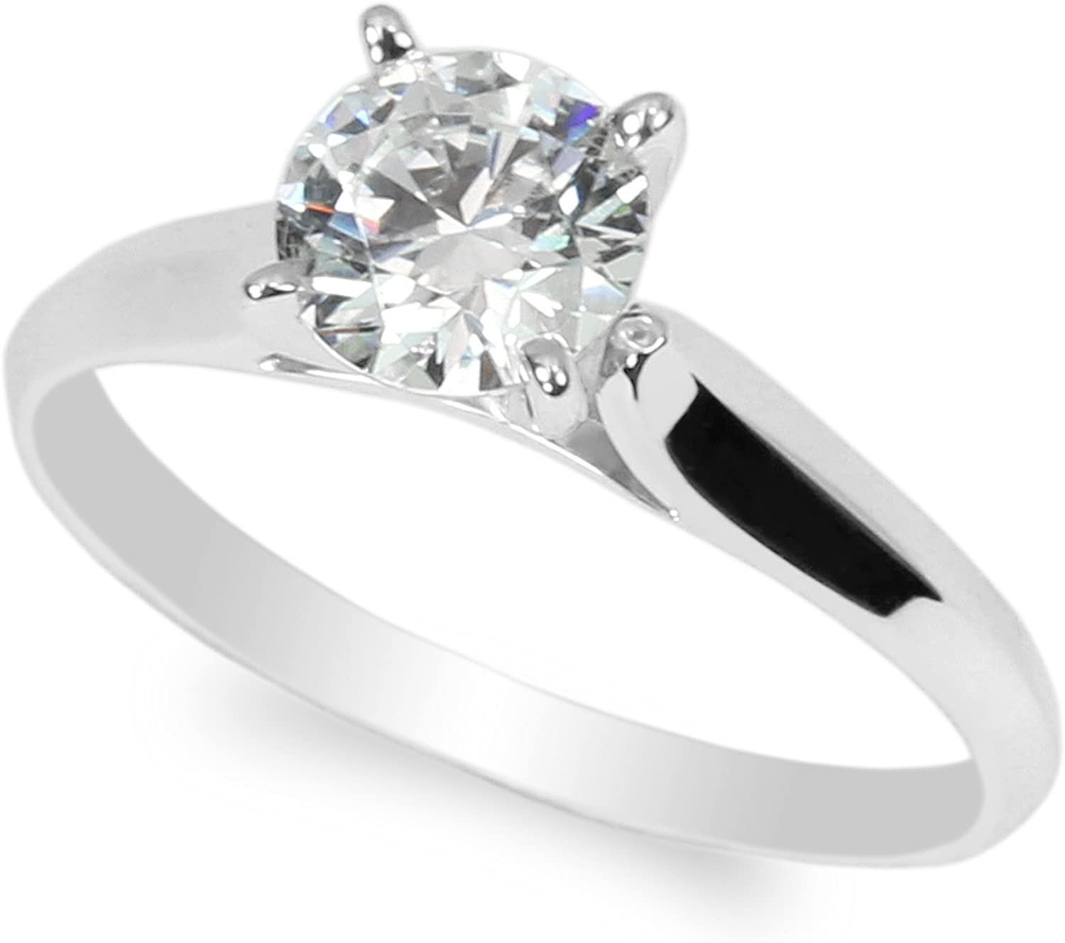 Details about  /1.50 ct Round Cut Green CZ Wedding Classic Statement Ring Real 14k White Gold