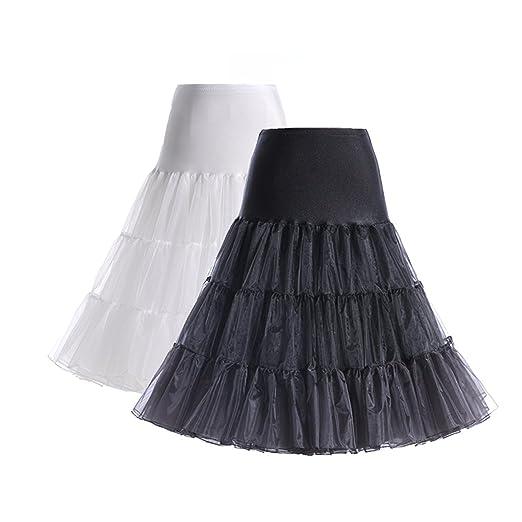 BOOLAVARD 50s Petticoat Underskirt Retro Vintage 1950s Rockabilly White, Black, Red: Amazon.es: Ropa y accesorios