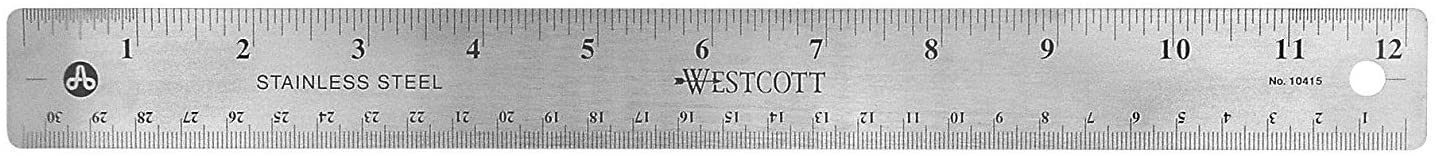 Westcott Stainless Steel Office Ruler with Non Slip Cork Base, 12 inch