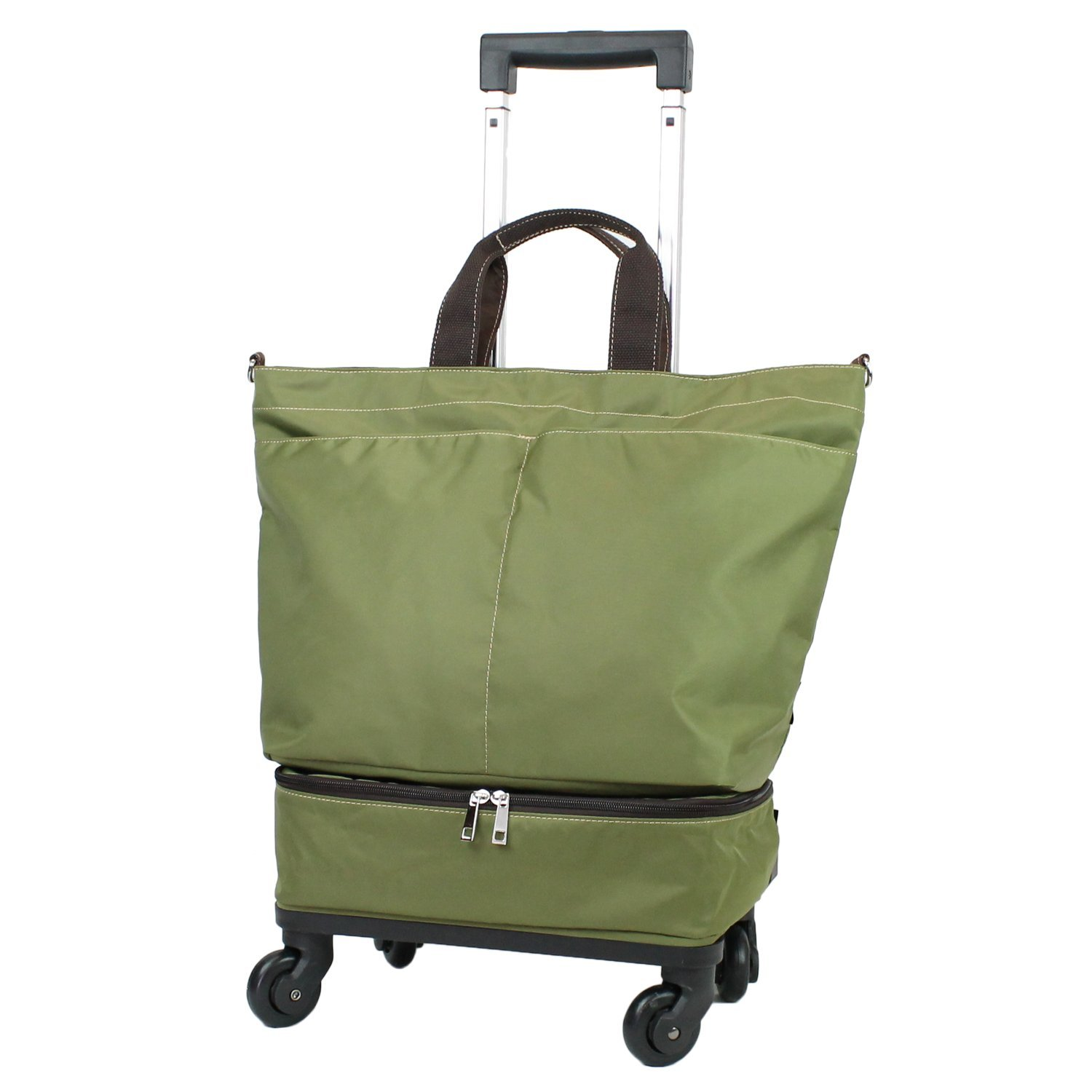 【COLOCOLO by MOIERG】 Rolling Shopper Tote Bag Carry-on Trolley Cabin Suitcase (Olive khaki)
