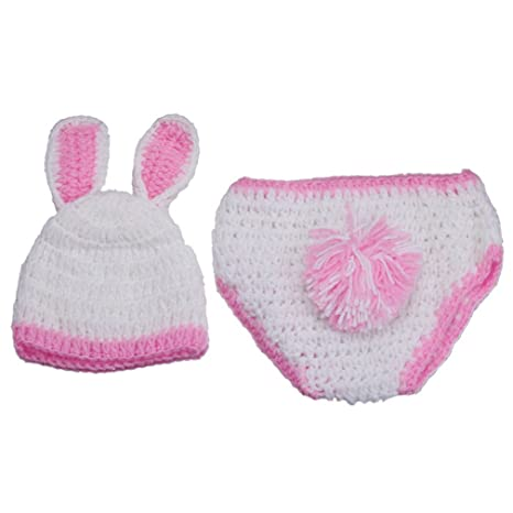 V-SOL Bebé Recién Nacido Conejo Blanco Y Rosa Algodón Aminal Beanie ...