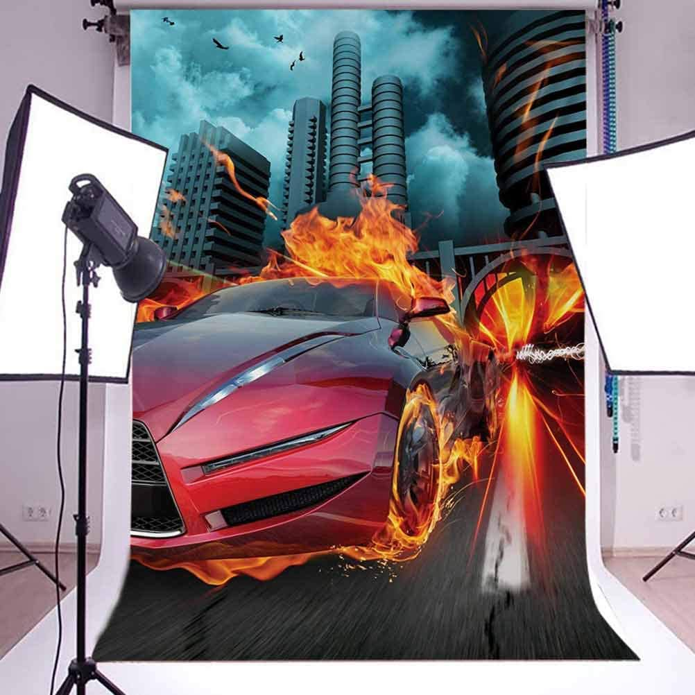 Cars 8x10 FT Backdrop Photographers,Hot Red Concept Car in Flames Blazing Tires Building and Birds Speeding Fast Background for Child Baby Shower Photo Vinyl Studio Prop Photobooth Photoshoot