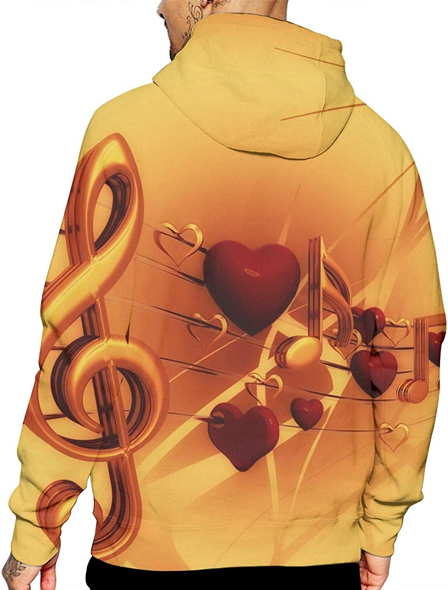 Clef T-Shirt Hooded with A Pocket Rope Hat Customization Fashion Novelty 3D Mens