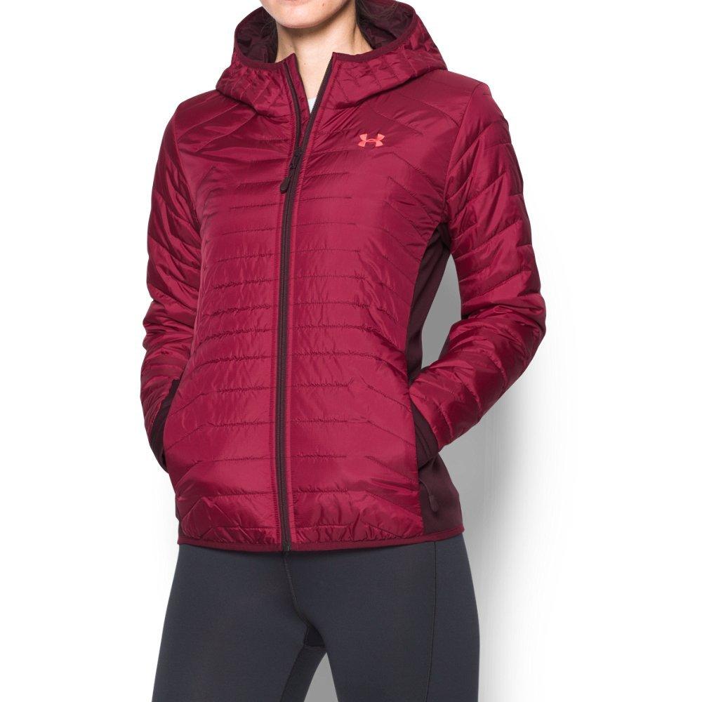 Under Armor Women's ColdGear Reactor Hybrid Jacket, Black Currant/Raisin Red, Large