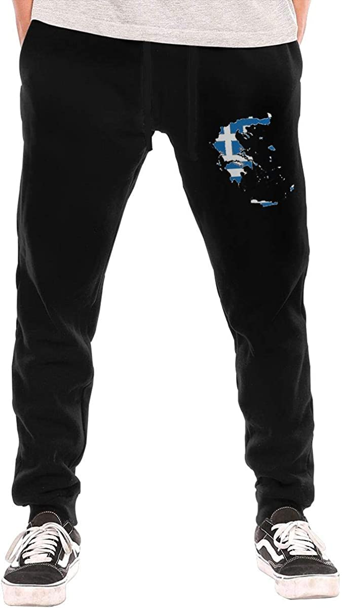 Leisure Greece Map with Greek Flag Cotton Sweatpants HRiu00@ Athletic Pants for Men
