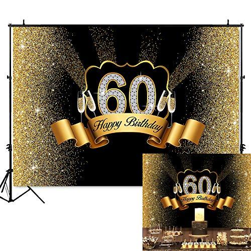 Happy Birthday 60 - Mehofoto 60th Birthday Backdrop Golden Black