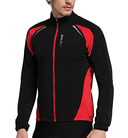 Baleaf Men s Thermal Cycling Jersey Long Sleeve Windproof Jacket Black Red  Size S b9892d998