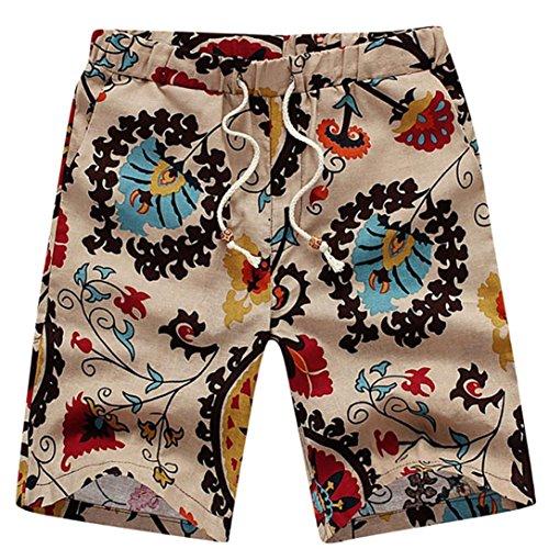 impresos Pantalones Trabajo Suelte Tipo Ropa 2 grande Tama Pantalones o Nueva Adeshop cortos recta Multicolor Deporte de Verano Elasticidad Hombres playa deportiva Casual qwCWvFE