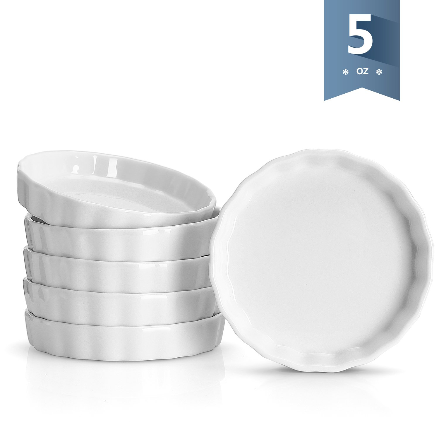 Sweese 5103 Porcelain Ramekins Round Shape - 5 Ounce for Creme Brulee - Set of 6, 4.8 x 0.8 Inch, White by Sweese