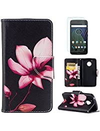 For Moto G5 Case,OYIME [Colorful Painting] Elegant Pattern Design Bookstyle Leather Wallet Case with Screen Protector Kickstand Card Slots Function Holster Full Body Protection Bumper Magnetic Closure Flip Cover with Wrist Lanyard - Pink Lotus