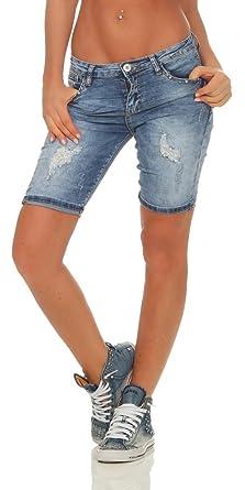2b32dc73cae6 OSAB-Fashion 5119 Damen Jeans Bermuda Shorts kurze Hose Hot Pants  Jeansbermuda Panty Destroyed