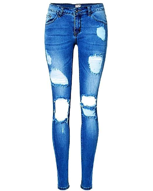 ZhuiKun Pantalones Vaqueros Mujer Elásticos Shaping Slim Agujeros Flacos Jeans