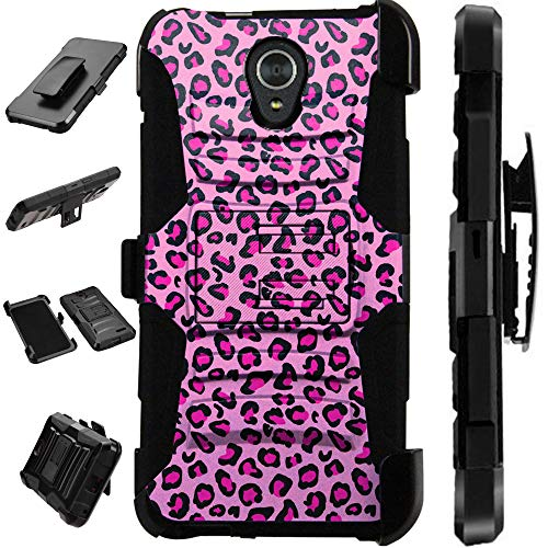 Compatible AT&T Axia (2018) Case Armor Hybrid Silicone Cover Stand LuxGuard Holster (Pink Leopard Print)