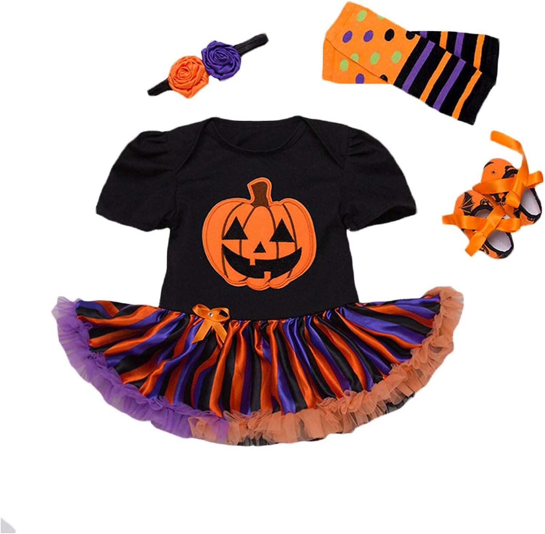 BabyPreg Disfraz Bebe Halloween Vestido Tutu Bebe Niñas 4Pieza