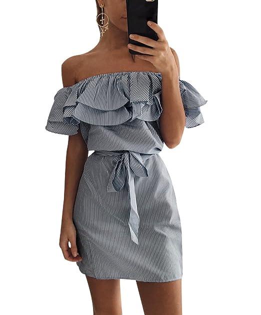 Vestidos Verano Rayas Cortos Vestidos Playeros Vestido Playa Fuera del Hombro Sueltos Vestidos Corto Diarios Mini