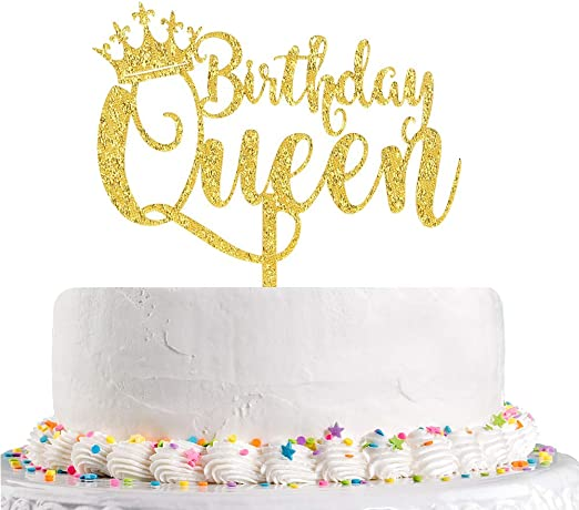 Terrific Amazon Com Queen Birthday Cake Topper Gold Acrylic Happy Birthday Funny Birthday Cards Online Alyptdamsfinfo
