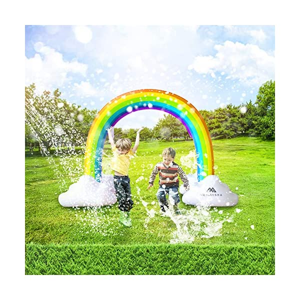 MeiGuiSha Inflatable Rainbow Yard Summer Sprinkler Toy, Over 6 Feet Long, Perfect for Summer Toy List 4