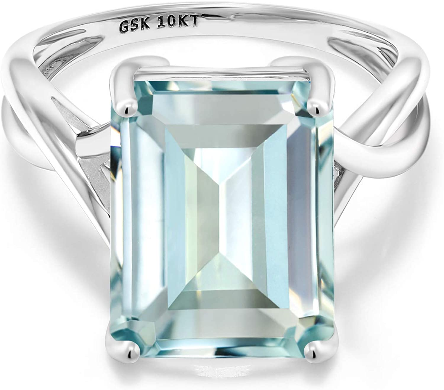 Gem Stone King 10K White Gold Sky Blue Simulated Aquamarine Women's  Engagement Ring (6.64 Cttw, Emerald Cut 14X10MM, Available in size 5, 6, 7,  8, 9) | Amazon.com