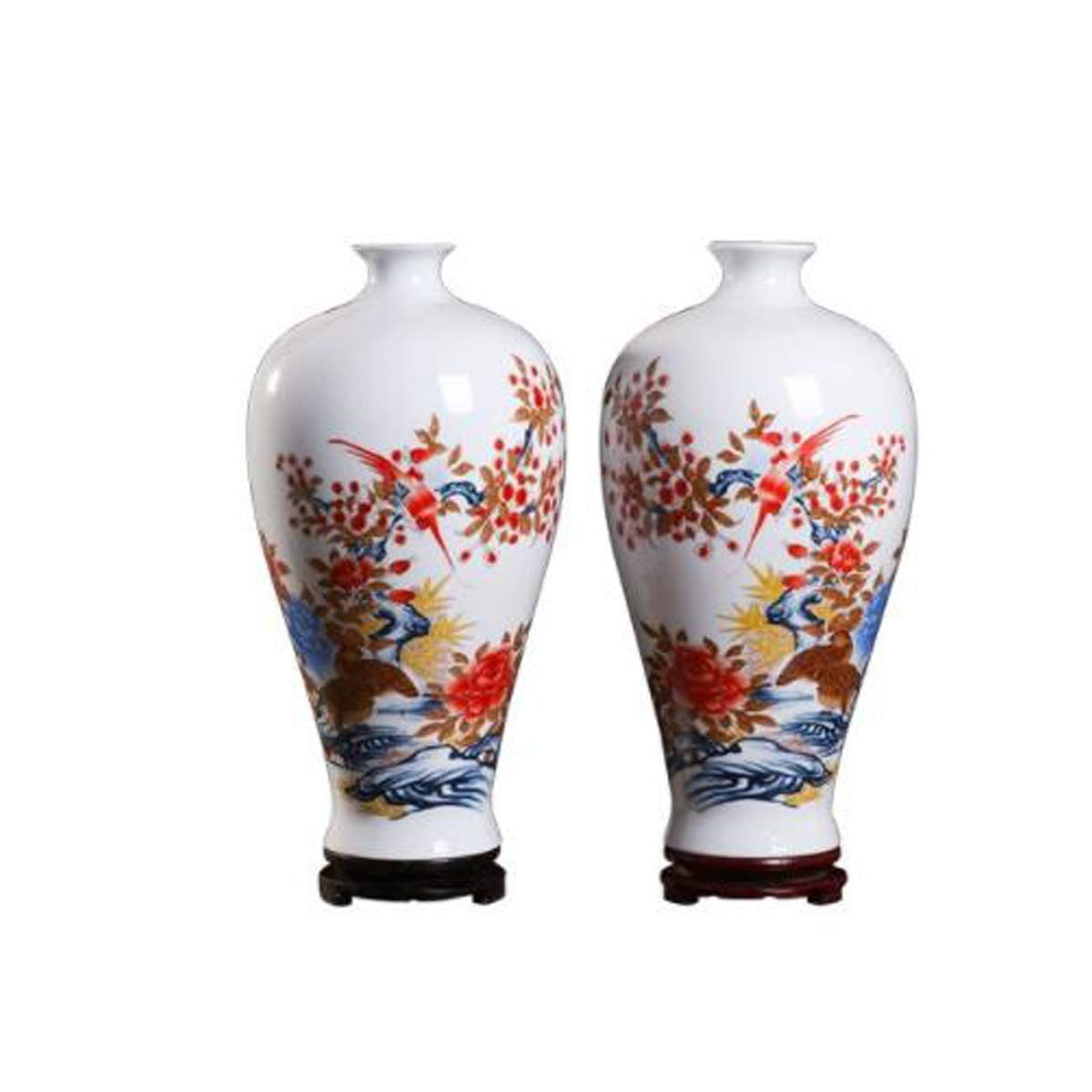 8HAOWENJU 花瓶の装飾、景徳鎮のセラミック花瓶の装飾、磁器の瓶のリッチ牡丹のペア、室内装飾、モダンなホームTVのキャビネット、カウンタートップの装飾、ワインのキャビネット、ポーチの家具、中国のリビングルーム 中華風 (UnitCount : A pair) B07SQNX5VV  A pair