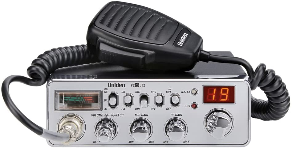Uniden PC68LTX 40-Channel CB Radio with PA/CB Switch, RF Gain Control, Mic Gain Control, Analog S/RF Meter, Instant Channel 9, Automatic Noise Limiter, and Hi-Cut Switch,Silver