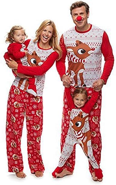 Pijamas Navidad Familia Conjunto Pijama Navideñas de Reno Niños Hombre Mujer Niña Chica Bebe Trajes Ropa de Noche Homewear Pijamas de Navidad para Toda La Familia Sudadera Chándal Suéter de Navidad: Amazon.es: