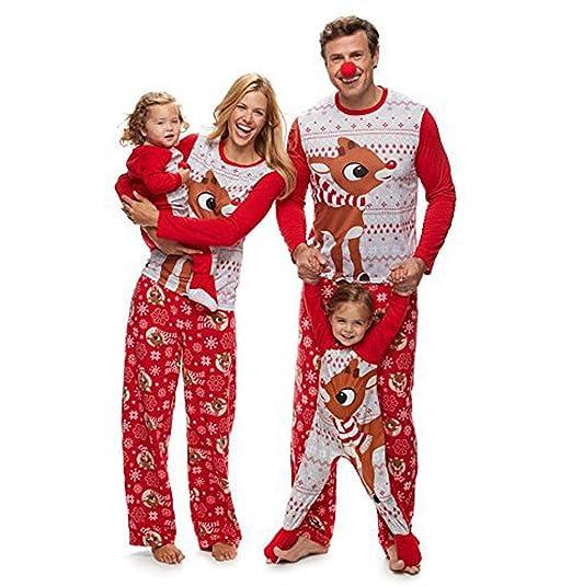 Pijamas Navidad Familia Conjunto Pijama Navideñas de Reno Niños Hombre Mujer Niña Chica Bebe Trajes Ropa de Noche Homewear Pijamas de Navidad para ...