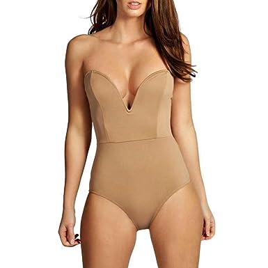 d17fffc59e Cheapcotton Women s Strapless Plunge Bandeau Neck Bodysuit at Amazon  Women s Clothing store