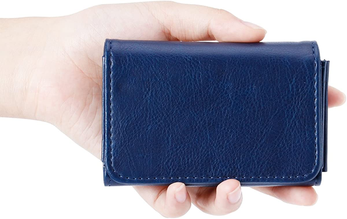 Royal Blue Women Mini Leather Credit Card Case Wallet with Inner Mirror and Card Holder