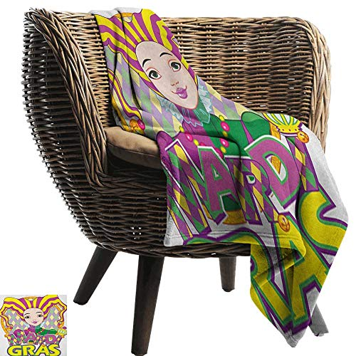 Blanket Sheets Mardi Gras Carnival Girl in Harlequin Costume and Hat Cartoon Fat Tuesday Theme All Season for Couch or Bed 36
