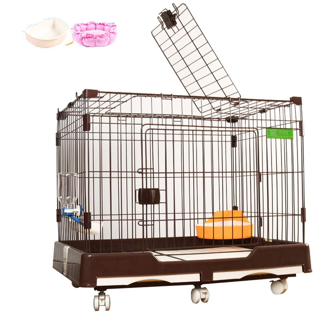 BROWN L BROWN L Lovingroy999 Dog Cage Crate Kennel Single Door& Double Door Pet Cage With Bowl and Mat,multiple color and Size (color   BROWN, Size   L)