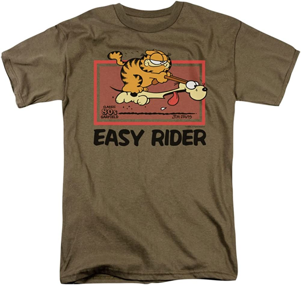 Amazon Com Garfield Comic Vintage Easy Rider Adult T Shirt Tee Clothing