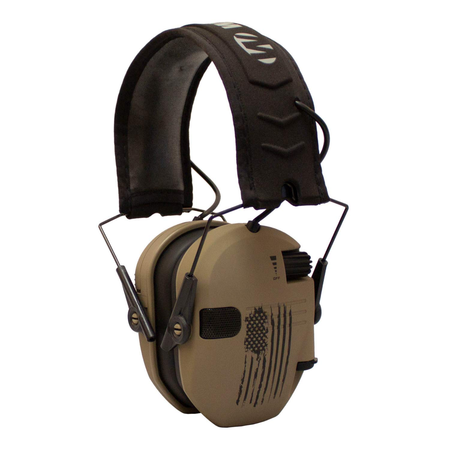 Walker's Razor Slim Electronic Shooting Hearing Protection Muff (American Flag Distressed, Tan) by Walker's Game Ear