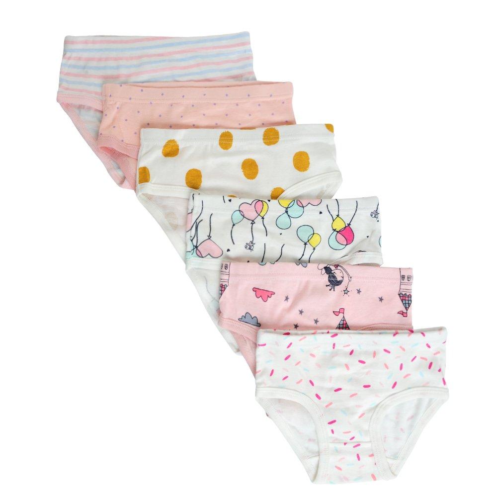 Closecret Kids Soft Cotton Toddler Panties Little Girls' Assorted Briefs(Pack of 6)