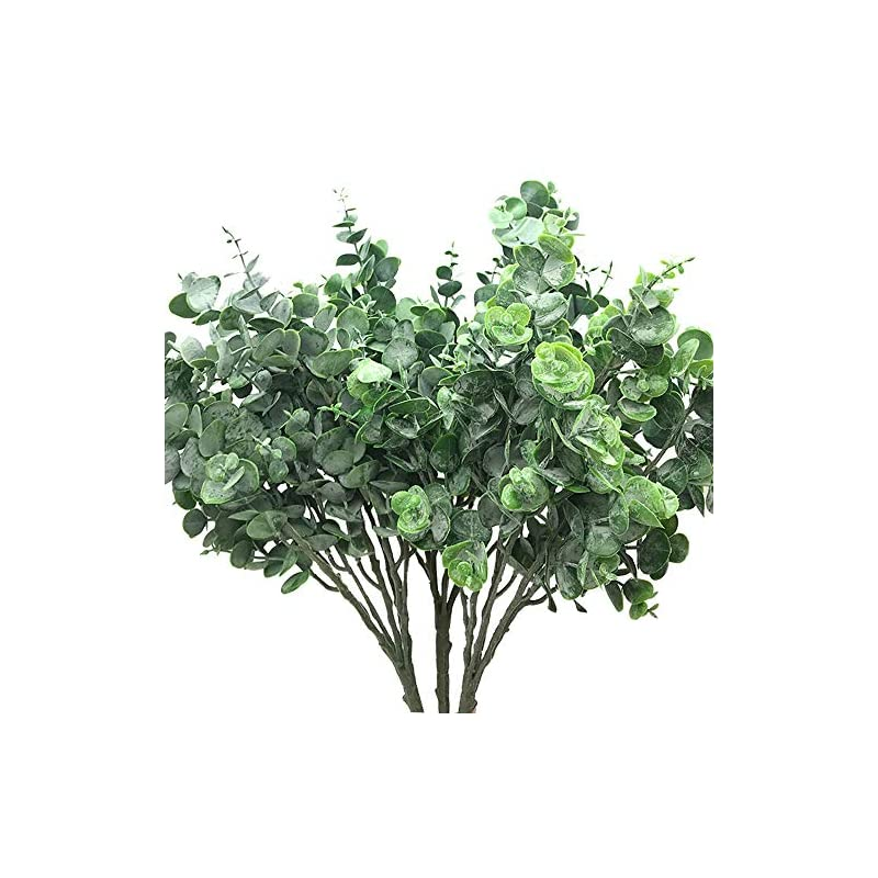"""silk flower arrangements aisamco 3 pcs faux eucalyptus leaves spray artificial greenery stems fake silver dollar eucalyptus branches plants in dusty green 15"""" tall x 10"""" wide for floral arrangement decoration"""