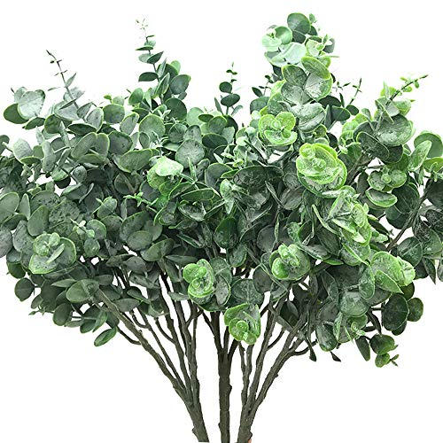 - Aisamco 3 Pcs Faux Eucalyptus Leaves Spray Artificial Greenery Stems Fake Silver Dollar Eucalyptus Branches Plants in Dusty Green 15