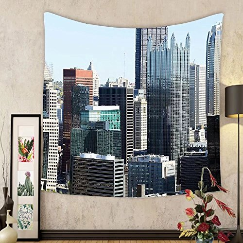 Gzhihine Custom tapestry USA Tapestry American Architecture Pittsburgh PA Skyline Pennsylvania Modern Cityscape for Bedroom Living Room Dorm 60WX40L Grey Silver Light - Outlets 100 Pennsylvania