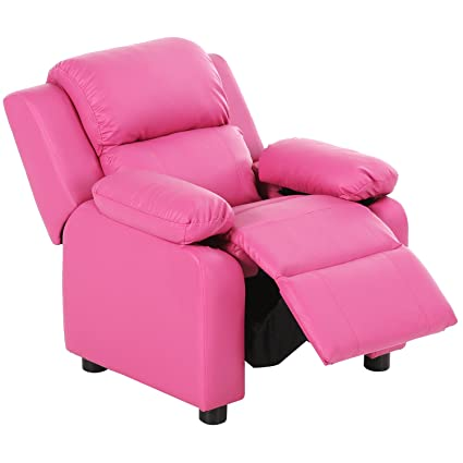 Charmant Harperu0026Bright Designs Kids Recliner With Storage Arms PU Leather Sofa Chair  For Child (Pink)