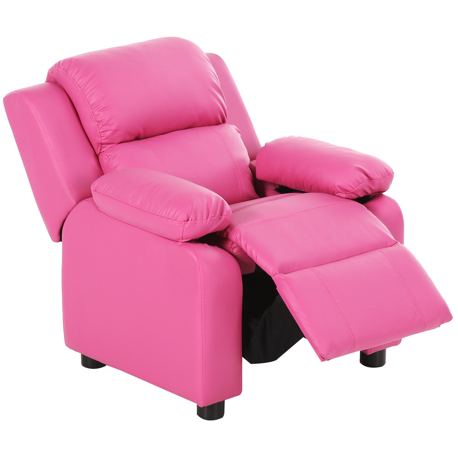 Harper&Bright Designs Kids Recliner with Storage Arms PU Leather Sofa Chair for Child (Pink)
