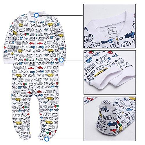 HONGLIN Footed Pajamas Baby Boys Girls Sleeper Long Sleeve 100% Cotton Zip Front Neutral