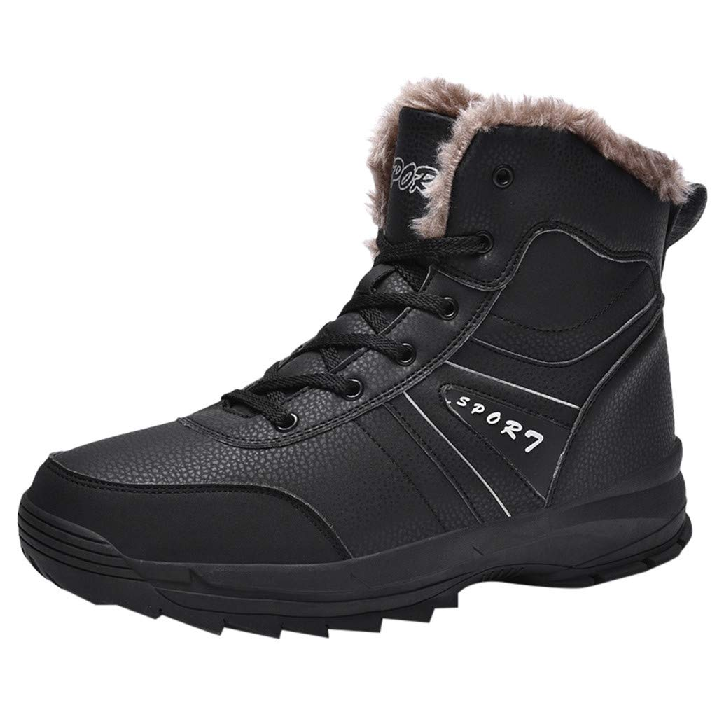 Men Snow Boots High Top Casual Non-Slip Winter Fur Warm Outdoor Ankle Shoes (US:12.5, Black) by Suoxo Men Shoes
