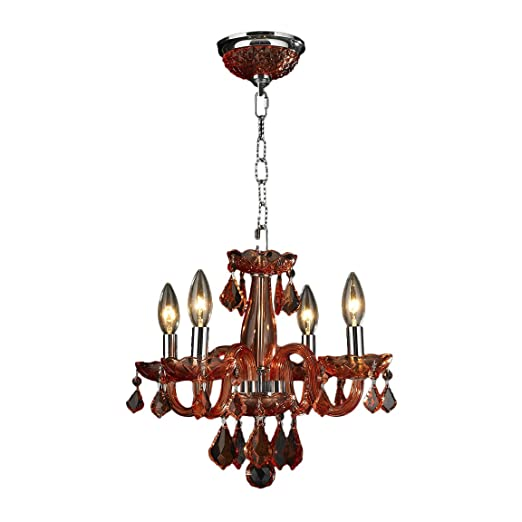 Christmas Tablescape Decor - Coral red crystal clarion 4-light chandelier by Worldwide Lighting
