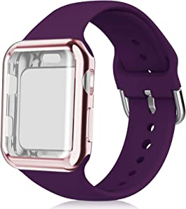 Huishang Compatible for Apple Watch Band 38mm with Screen Protector Case, Soft Silicone Sport Replacement Wristband for iWatch Series 3 2 1 (38mm, Purple)