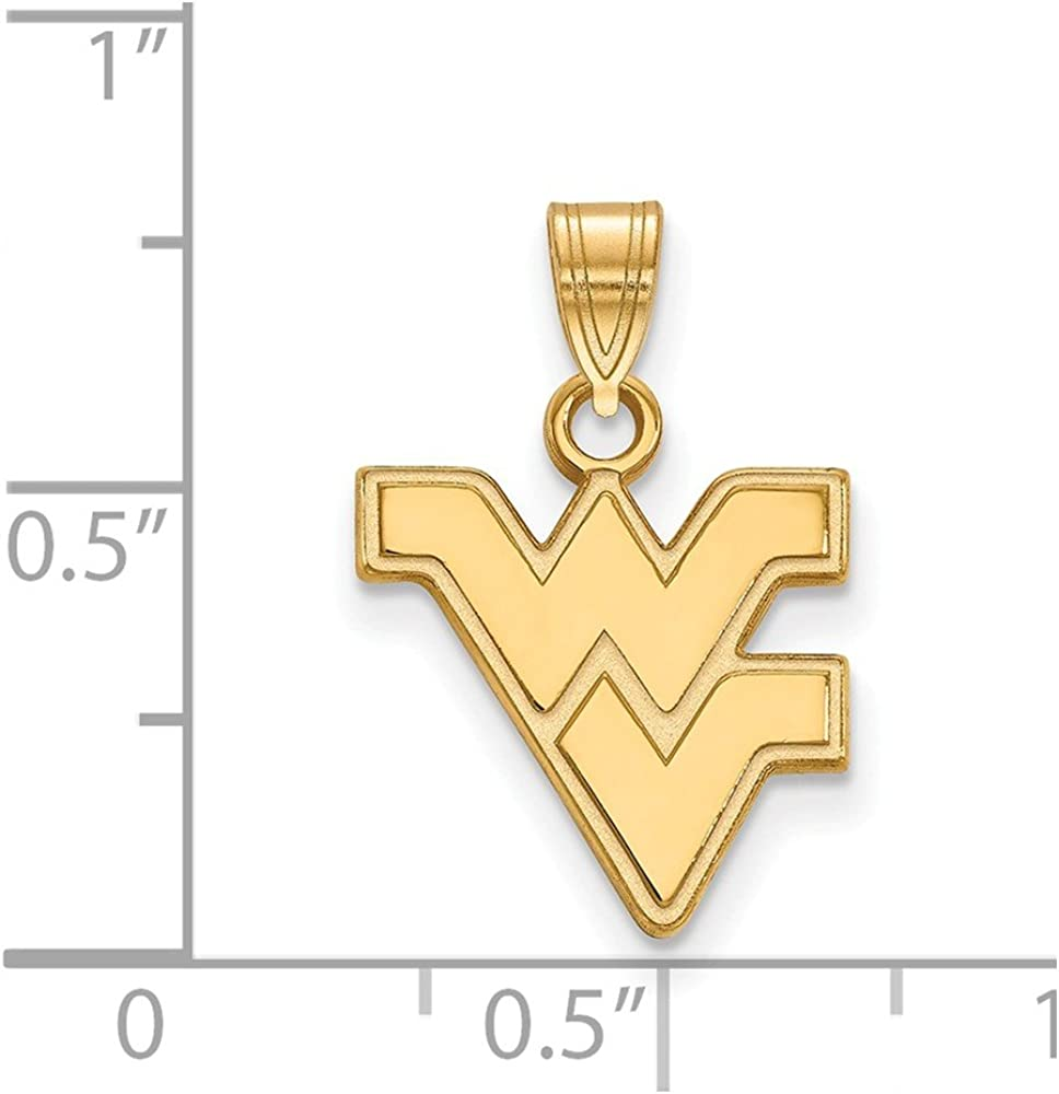 925 Sterling Silver Yellow Gold-Plated Official West Virginia University Small Pendant Charm 19mm x 14mm