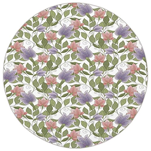 Round Area Rug Mat Rug,Floral,Pastel Tone Tulip Flower Aged Ottoman National Symbol Petals Image,Coral Lilac and Olive Green,Home Decor Mat with Non Slip Backing