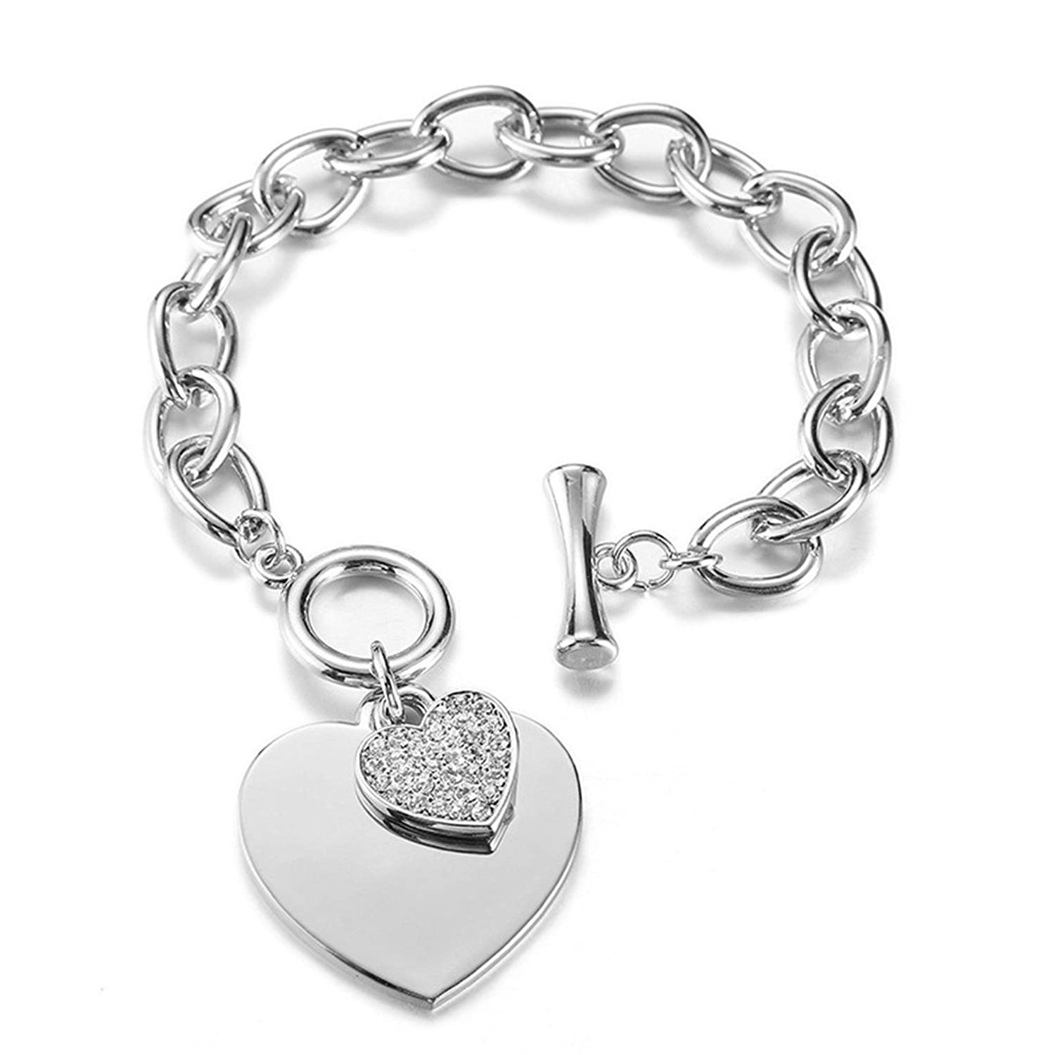 b7a6a2bdb Amazon.com: Mymate Stainless Steel Womens Charm Bracelets for Teen Girls  Link Heart Bracelets, 7 inches: Jewelry