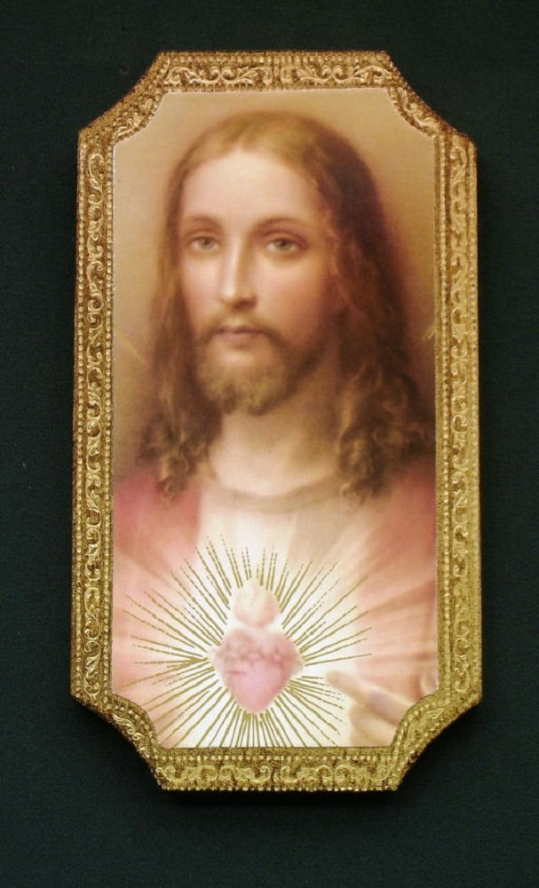 Sacred Heart of Jesus Florentine Plaque, 4.75 x 9 inches. Made in Italy.